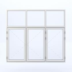 6 parts window with 3 sashes on the bottom and 3 fixed on the top