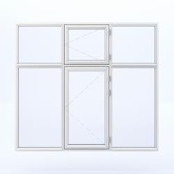 6 parts window with two side hinged in the middle