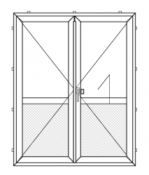PVC outward opening double balcony door