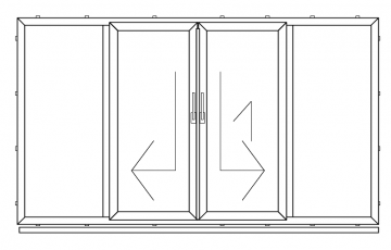 PVC double sliding door with four parts, PSK type ( min width 3380mm )