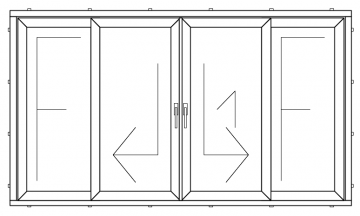 PVC HS type double sliding door with four parts ( min width 3600 mm )