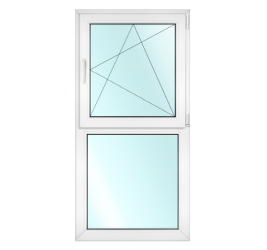 PVC window with 1 horizontal partition, upper part is openable, bottom part is fixed